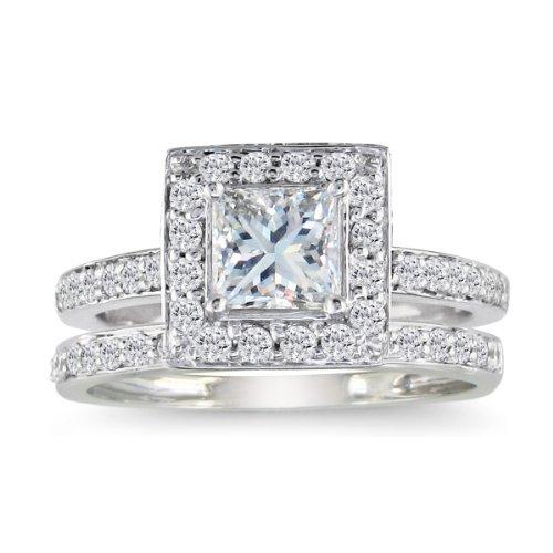 SuperJeweler 1/2ct Pave Princess Diamond Bridal Set in 14k White Gold HI I1-I2