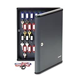 MMF SteelMaster Security Key Cabinet - 11.75 quot; x 2.38 quot; x 14.75 quot; - Steel - Key Lock - Black, Gray