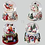 Santa And Snowman Wind-up Snomotion Musical Waterglobes Set Of 4