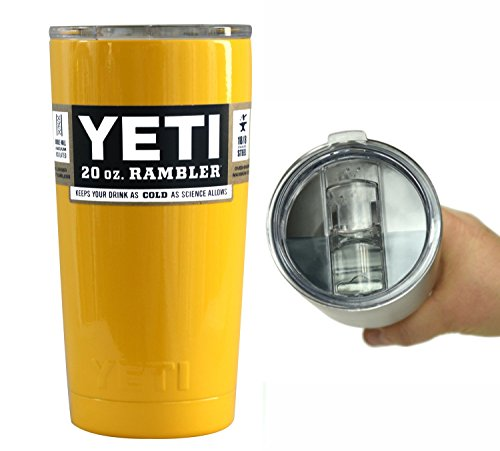 YETI Coolers 20 oz (20oz) Powder Coated Rambler Tumbler Cup with Extra Spill Proof Lid - Keeps your 20oz drink cold or hot for hours (Sunny Yellow) (Yeti Cooler Beverage Holder compare prices)