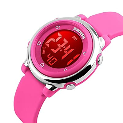 Kids Silicone Outdoor Sport Unusual Digital Electrical Colorful Luminescent Waterproof Children Dress Wrist Watch with Alarm and Stopwatch for Girls - Pink
