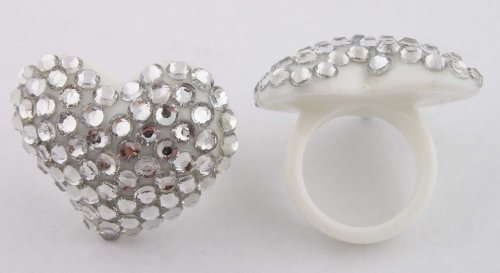 White Iced Out Heart Shaped Finger Ring Poparazzi