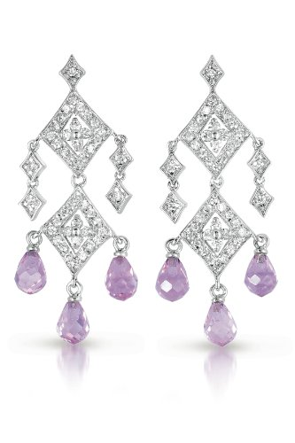 Diamond-Shaped Dangling C.Z. Simulated Pink Sapphire Briolette Earrings