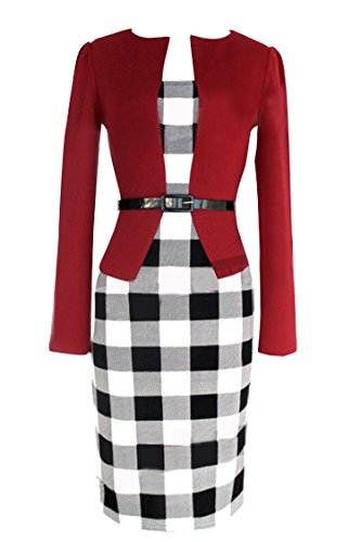 Womens Long Sleeve Plaid Office Interview False Two-piece Dress