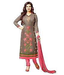 Mahavir Fashion Grey Chanderi Dress Material