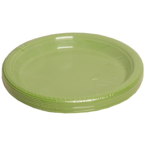 Jam Paper® - Small Round Lime Green Plastic Party Plates - 7 Inches - 20 Plates Per Pack