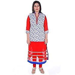 Silkfab Women's Chanderi Kurti (SF62015RN1002_Blue Red_X-Large)