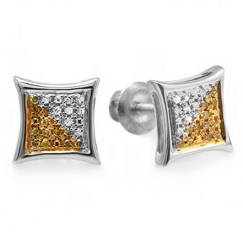 0.05 Carat (ctw) Sterling Silver White & Yellow Round Diamond Micro Pave Setting Kite Shape Stud Earrings