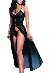 Dreamspell New Arrival Elegant Sexy Women Lingerie Retro Lace Black Long Slit Dress 5022