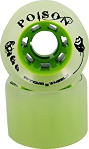 Atom Poison Wide Skate Wheels 4-Pack 84A Hardness and Size 62mm x 44mm Color Ghost Green Roller Derby Speed Skating Replacement Wheels