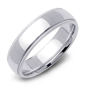 Beaded Milgrain Wedding Ring Band in 14k White Gold (6mm)