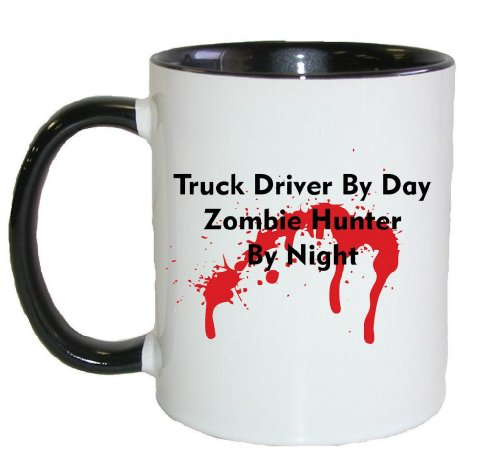 Mashed Mugs - Truck Driver By Day Zombie Hunter By Night - Coffee Cup/Tea Mug (White/Black)