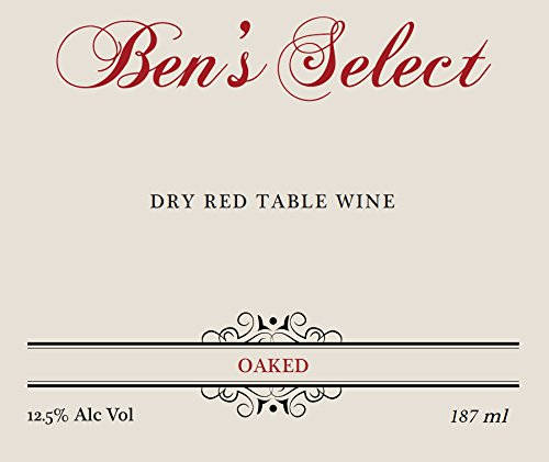 "Nv Ben Ish Winery ""Ben'S Select"" Dry Red Table Wine With Personalized Label 187 Ml"