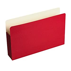 "Wilson Jones® ColorLife® File Pocket, Moisture/Tear Resistant, 3 1/2"" Expansion, Legal Size (9 1/2"" x 14 3/4""), Red, 25 per box (WCC74R)"