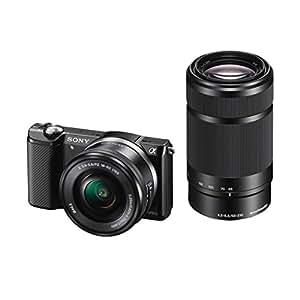 Sony A5000 ILCE5000YB.CEC Appareil photo numérique hybride 20 Mpix Zoom optique 4x + Objectif 16-50 mm rétractable Noir + 55-210 mm Noir