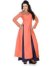 Purva Art Womens Banglori Silk Orange Stylish Top With Plazo (2203_Orange_Plazo)