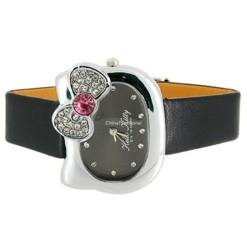 Hello Kitty Crystal decorated Bracelet Girls Kids Wrist Watch Black