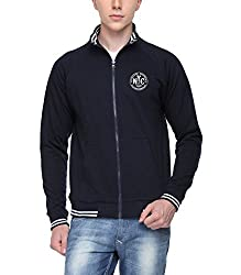 ADRO Men's Sweatshirt with High Neck Zipper (Navy Blue, Premium Cotton)