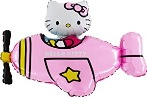 "37"" Hello Kitty In Pink Helicopter Foil Balloon - Inflate With Air/Helium)"