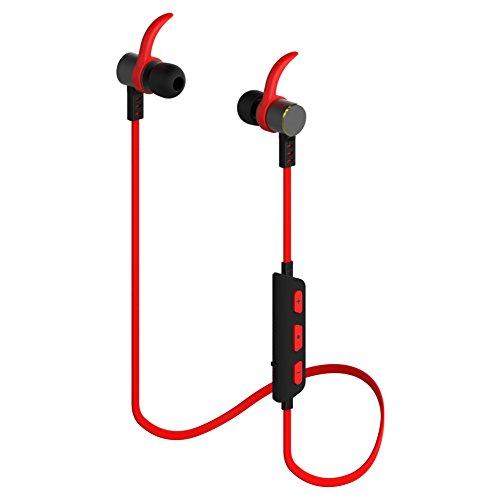 Bluetooth 4.1 イヤホン、Hiearcool M5スポーツステレオインイヤーヘッドセット防汗ワイヤレスイヤホン(あかい)