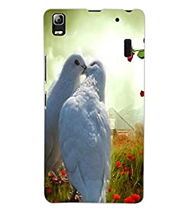 ColourCraft Love Pigeons Design Back Case Cover for LENOVO A7000 TURBO