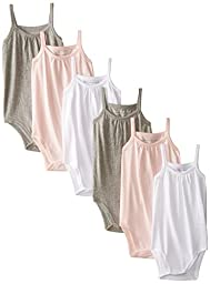 Burt\'s Bees Baby Baby-Girls Infant Set of 6 Multi Camisole Bodysuits, Multi, 24 Months