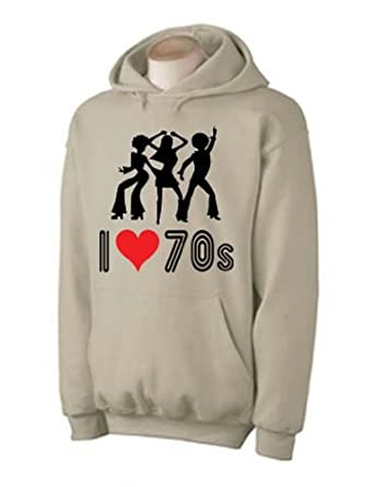 I Love The 70s Hoodie (choice of colour) (Small, Khaki)