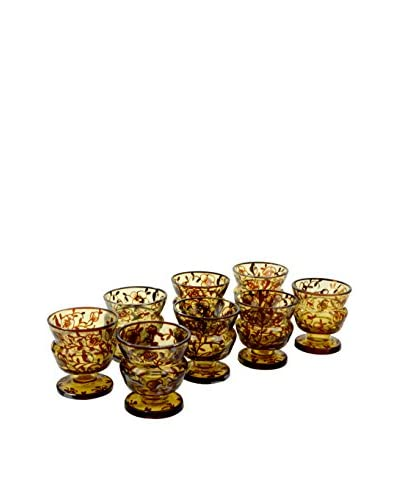 Set of 8 Vintage Hand-Painted Desert Flower Cups, Brown Tint