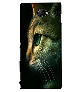 ColourCraft Cute Cat Face Design Back Case Cover for SONY XPERIA M2