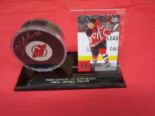 New Jersey Devils David Clarkson Autographed Hockey Puck In Custom Engraved Puck & Card Holder back-518524
