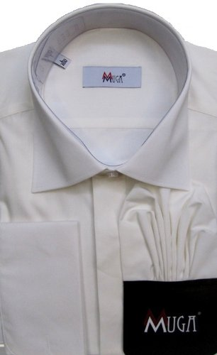 MUGA mens double cuffed Dress shirt, Creme/Ivory, Size 5XL