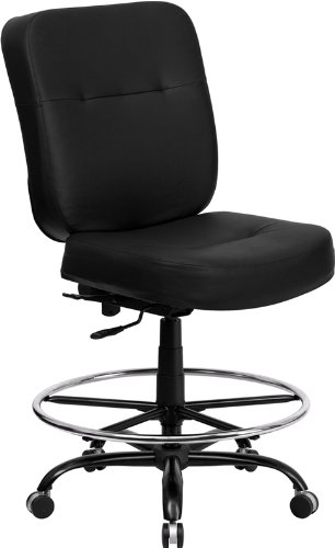 Flash Furniture Wl-735Syg-Bk-Lea-D-Gg Hercules Series 400-Pound Big/Tall Black Leather Drafting Stool With Extra Wide Seat