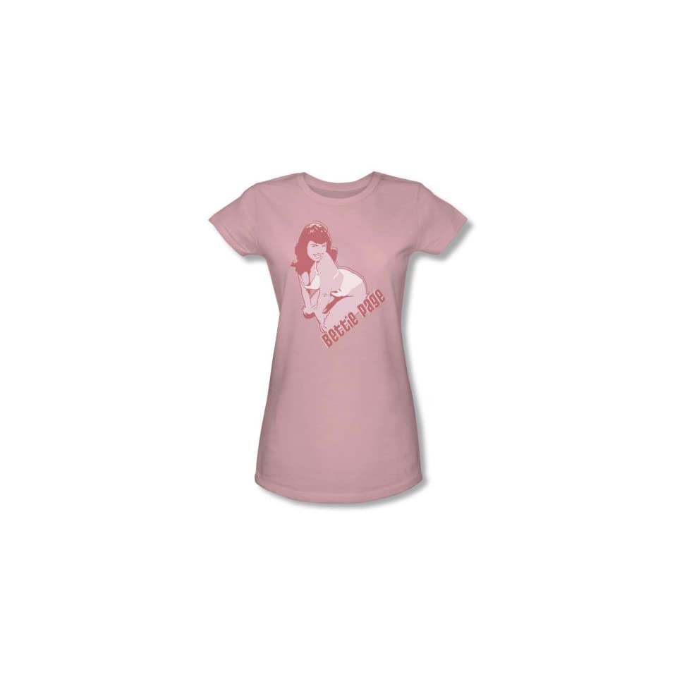 Bettie Page 3 COLOR BOMBSHELL Short Sleeve Tee JUNIOR SHEER   PINK T Shirt Clothing