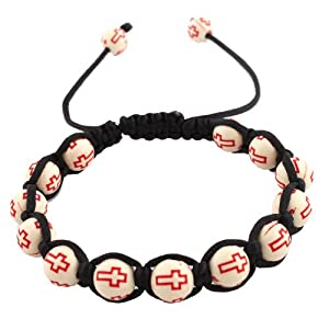 3 Pieces of White with Red Cross Beaded Adjustable Bracelet Macrame Shamballah