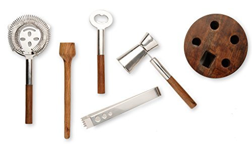Francois et Mimi Stainless Steel Cocktail Bar Tool Kit Set; Includes Ice Tongs, Muddler, Stirring Spoon, Strainer, and Bar Key / Bottle Opener with Unique Wood Storage Rack (Cool Bar Accessories compare prices)