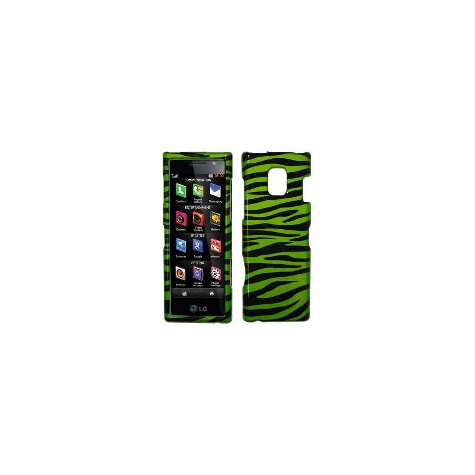 Neon Green and Black Zebra Stripes Design Snap On Cover Hard Case Cell Phone Protector with Snap On Removal Tool for LG New Chocolate BL40 [Accessory Export Packaging]