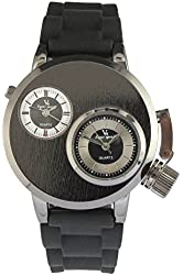 YouYouPifa® Special Design 2 Dial Stainless Steel Case Rubber Strap Quartz Watch (Black)