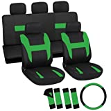 OxGord 17pc Black & Green Flat Cloth Seat Cover Set for the Toyota Corolla Coupe, Airbag Compatible, Split Bench, Steering Wheel Cover Included