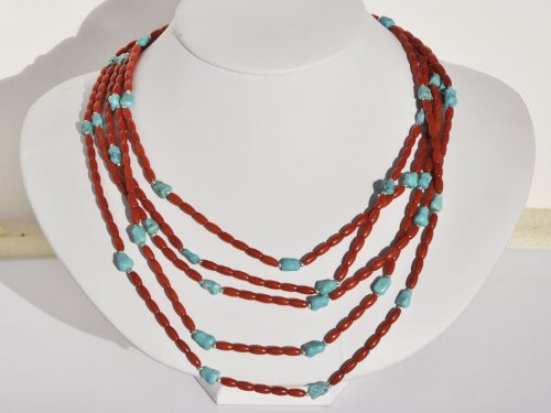 Sterling Silver 5-rows of Dyed Coral and Genuine Turquoise Nested Necklace, 17