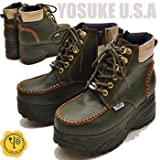 YOSUKE U.S.A ヨースケ 厚底 メンズ ブーツ ハイカット 厚底 スニーカー プラットフォーム 厚底 ブーツ サイドジッパー 26.0cm カーキ