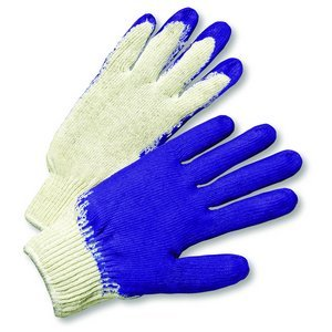 WEST CHESTER 30708 Latex Coated Palm and Fingertips Glove, Large, Blue, 12-Pack