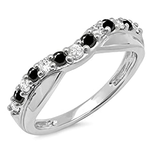 0.55 Carat (ctw) 14K White Gold Round Cut Black & White Diamond Wedding Contour Band 1/2 CT (Size 4)