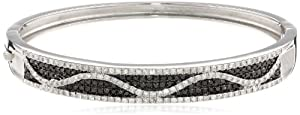 Sterling Silver Black and White Diamond Bangle Bracelet (1.95Cttw, I-J Color, I2-I3 Clarity)