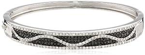 Sterling Silver Black and White Diamond Bangle Bracelet (1.95Cttw, I-J Color, I2-I3 Clarity)