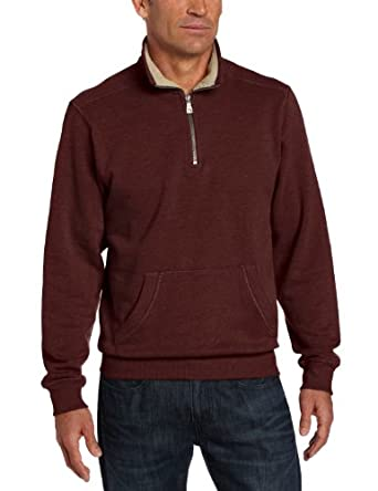 GH Bass Men's Fleece Pullover with Pocket, Dark Burgundy, XXL