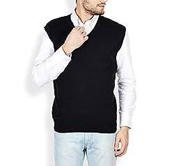 Super Weston Stylish 100% Woolen V Neck Black Plain Sweater (40, Black)