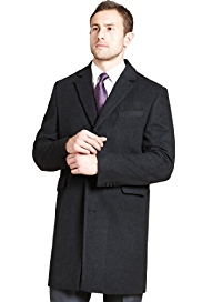 Big & Tall Notch Lapel 3 Button Coat with Wool