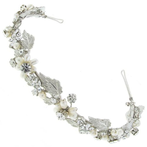 Gorgeous Swarovski Pearl and Leaf Design Tiara - Hair Accessory - Free Gift Pouch / Box