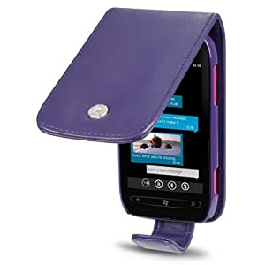 Nokia Lumia 710 Premium PU Leather Flip Case / Cover / Pouch / Holster - Purple Part Of The Qubits Accessories Range