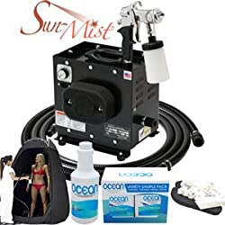 Complete Apollo HVLP Turbine Sun-Mist Sunless Spray Tanning System with a Pint of 8.5% DHA Solution with Medium Bronzer, 4 Solution Variety Pack (1 Pint Total), Tanning Tent and Accessories